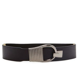 Steve Madden Black Metal Hook Stretch Belt